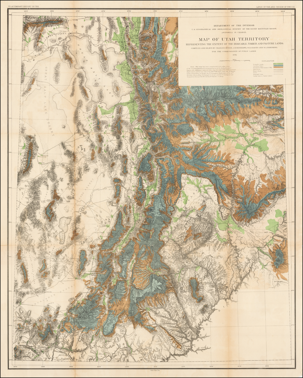 Map of Utah Territory  Representing The Extent of the Irrigable, Timber and Pasture Lands.  Compiled and Drawn by Charles Mahon, J.H. Renshawe, W.H. Graves and H. Lindenkohl For The Commissioner of Public Lands.  1878. By U.S. Geological Survey