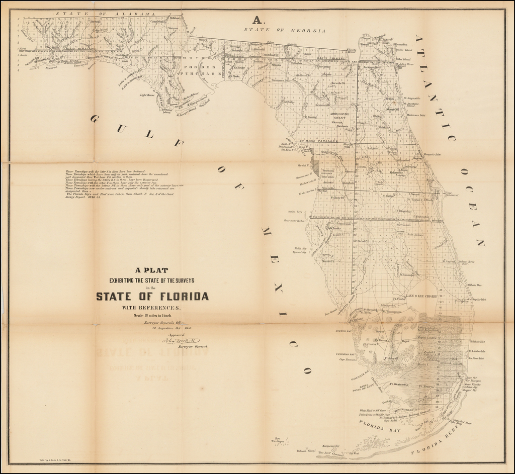 A Plat Exhibiting The State of the Surveys in the State of Florida . . . 1855 By U.S. Surveyor General