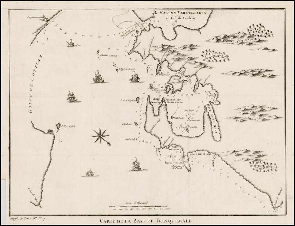 Carte de la Baye de Trinquemale By Jacques Nicolas Bellin
