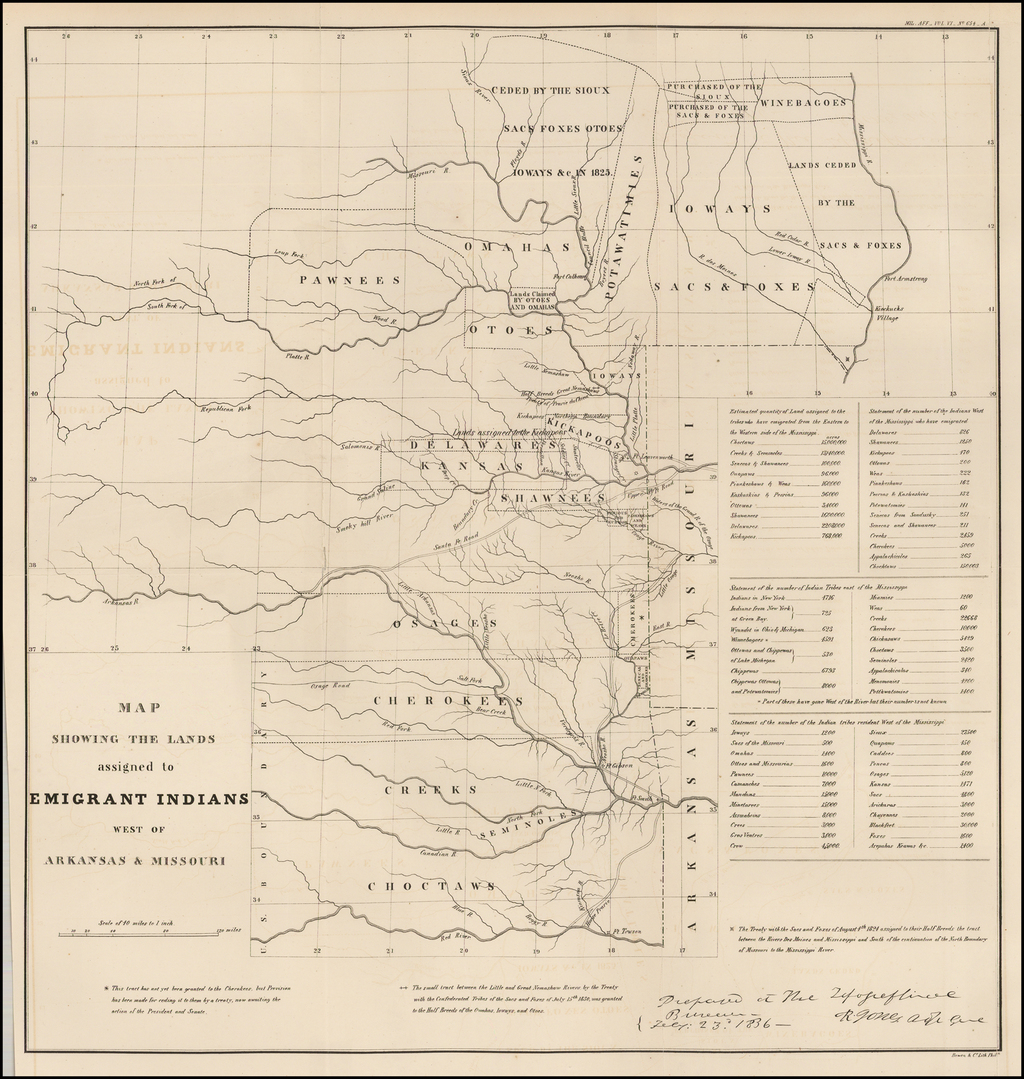 Map Showing the Lands assigned to Emigrant Indians West of