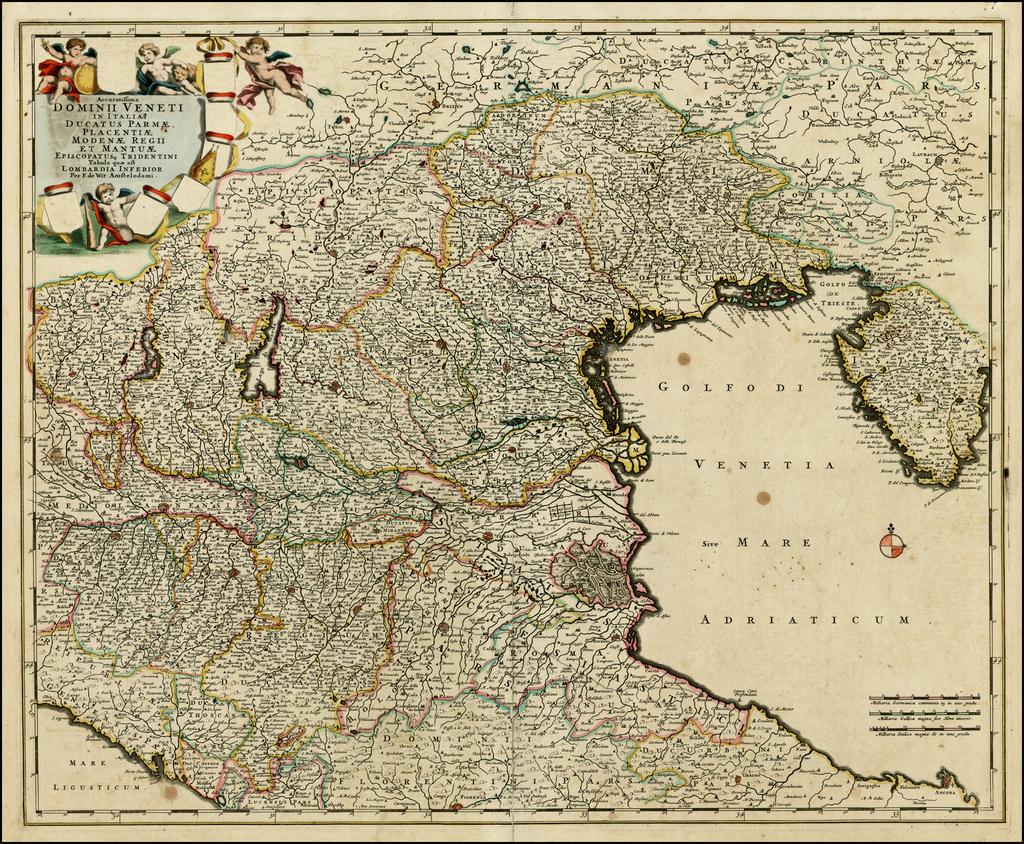 Accuratissima Domini Veneti In Italia Ducatus Parmae, Placentiae, Modena, Regii et Mantuae Episcopatus Tridentini Tabula quae est Lombardia Inferior . . .  (Proof State!) By Frederick De Wit