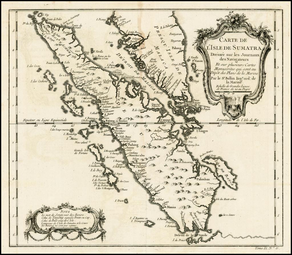 Carte de L'Isle de Sumatra Dressee sur les Journaux des Navigateurs . . .  By Jacques Nicolas Bellin