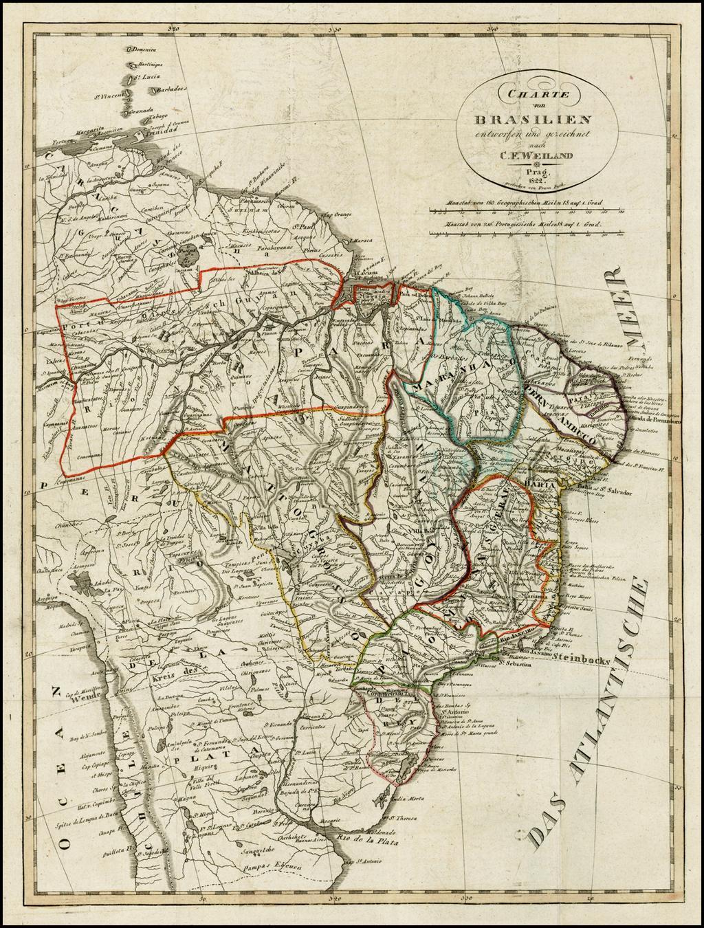 Charte von Brasilien entworfen und gezeichnet . . . 1822 By Franz Pluth
