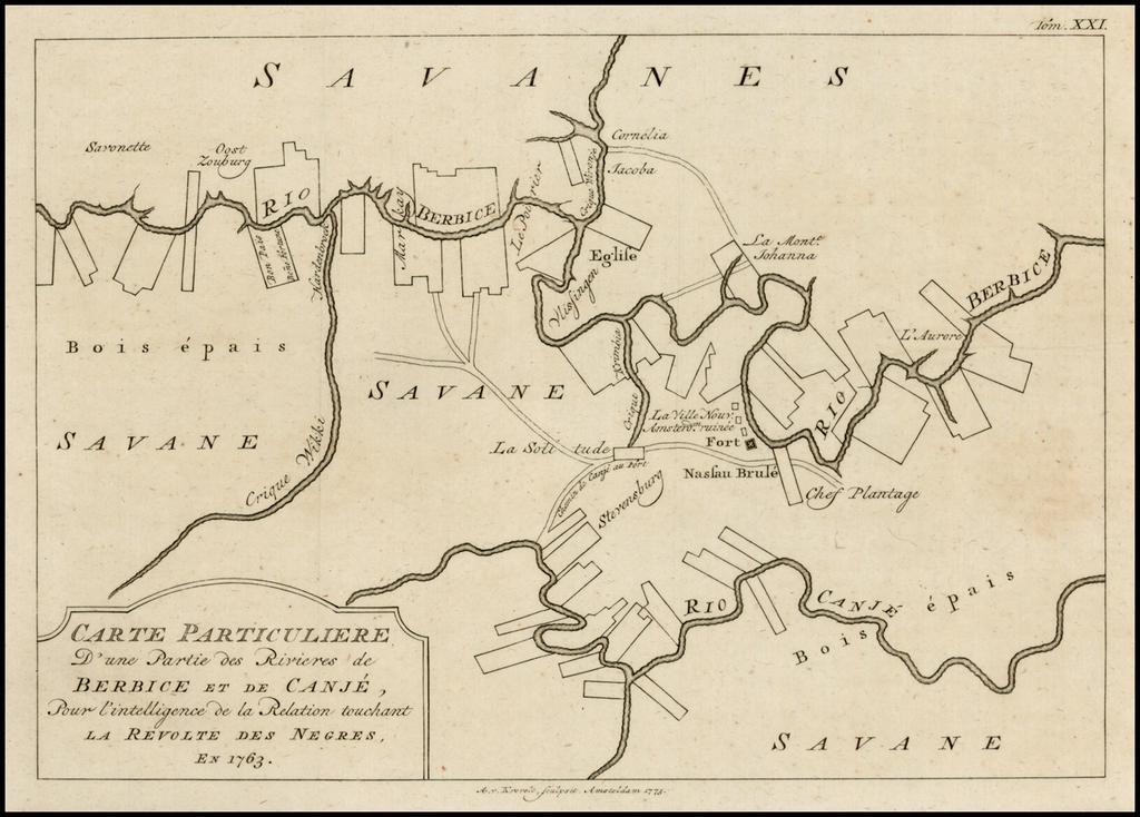 Carte Particuliere d'une Partie des Rivieres de Berbice et de Caroje, pour l'Intelligence de la Relation Touchant la Revolt des Negres en 1763 By A. Krevelt