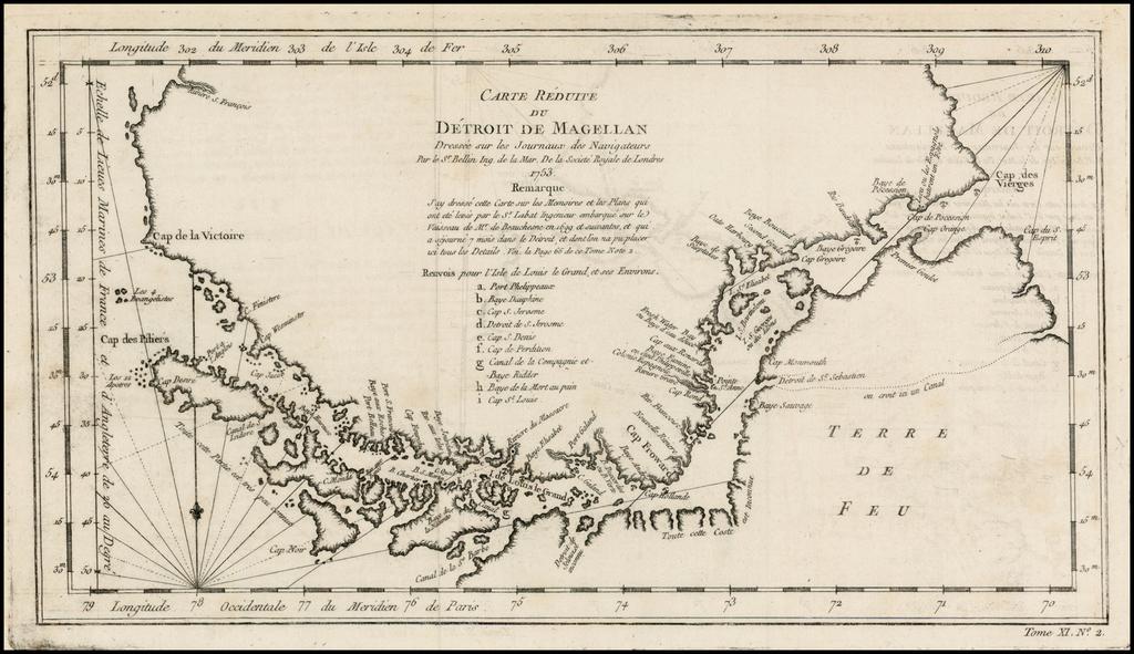 Carte Reduite Du Detroit De Magellan  Dressee sur les Journaux des Navigateurs; Par le Sr. Bellin . . . 1753 By Jacques Nicolas Bellin