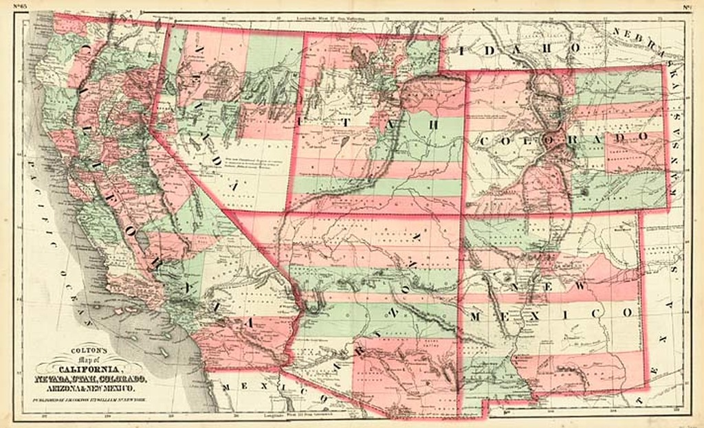 Map Of Arizona Nevada.Colton S Map Of California Nevada Utah Colorado Arizona New