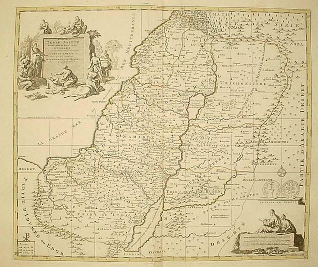 Carte de la Terre Sainte Divisee selon les Douze Tribus D