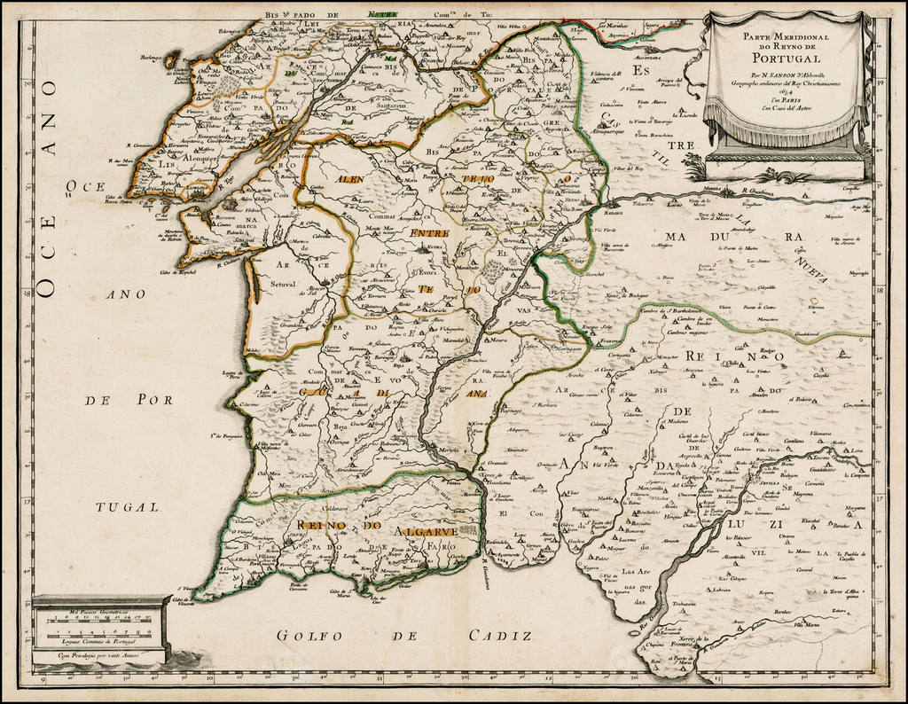 Parte Meridonal Do Reyno De Portugal . . . 1654 By Guillaume Sanson