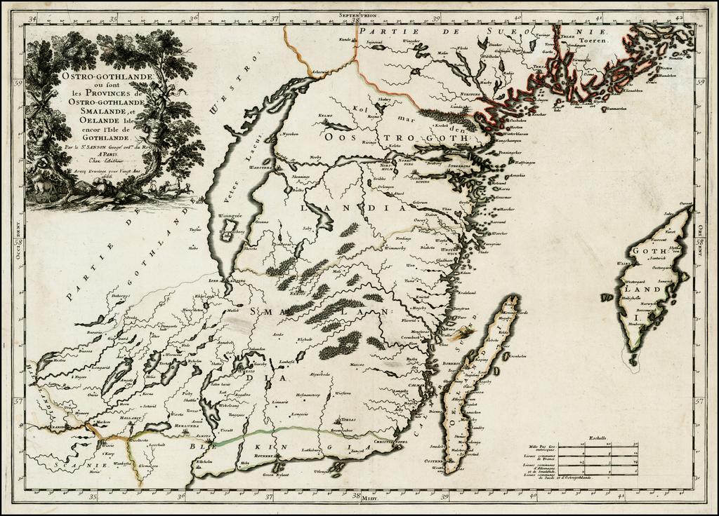 Ostro-Gothlande ou sont les Provinces de Ostro-Gothlande, Smalande, et Oelande Isle encor l'Isle de Gothlande. 1666 By Guillaume Sanson