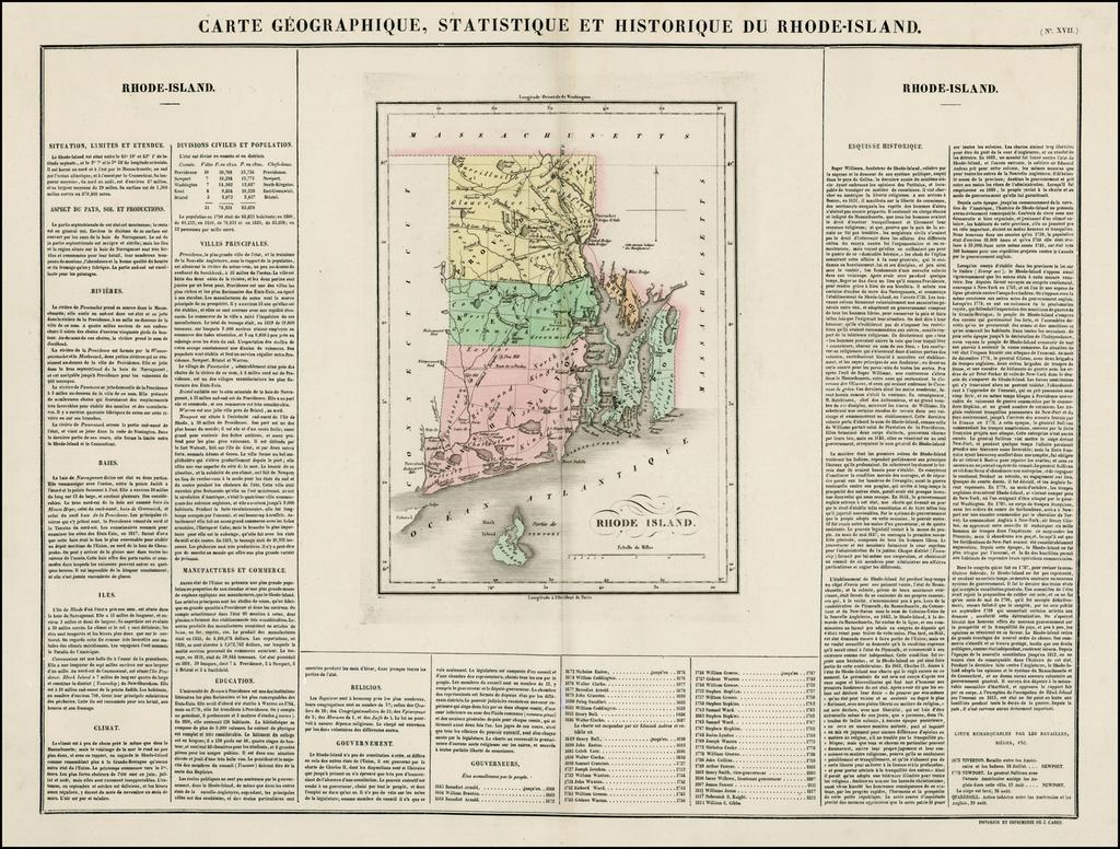 Carte Geographique, Statistique et Historique Du Rhode-Island By Jean Alexandre Buchon