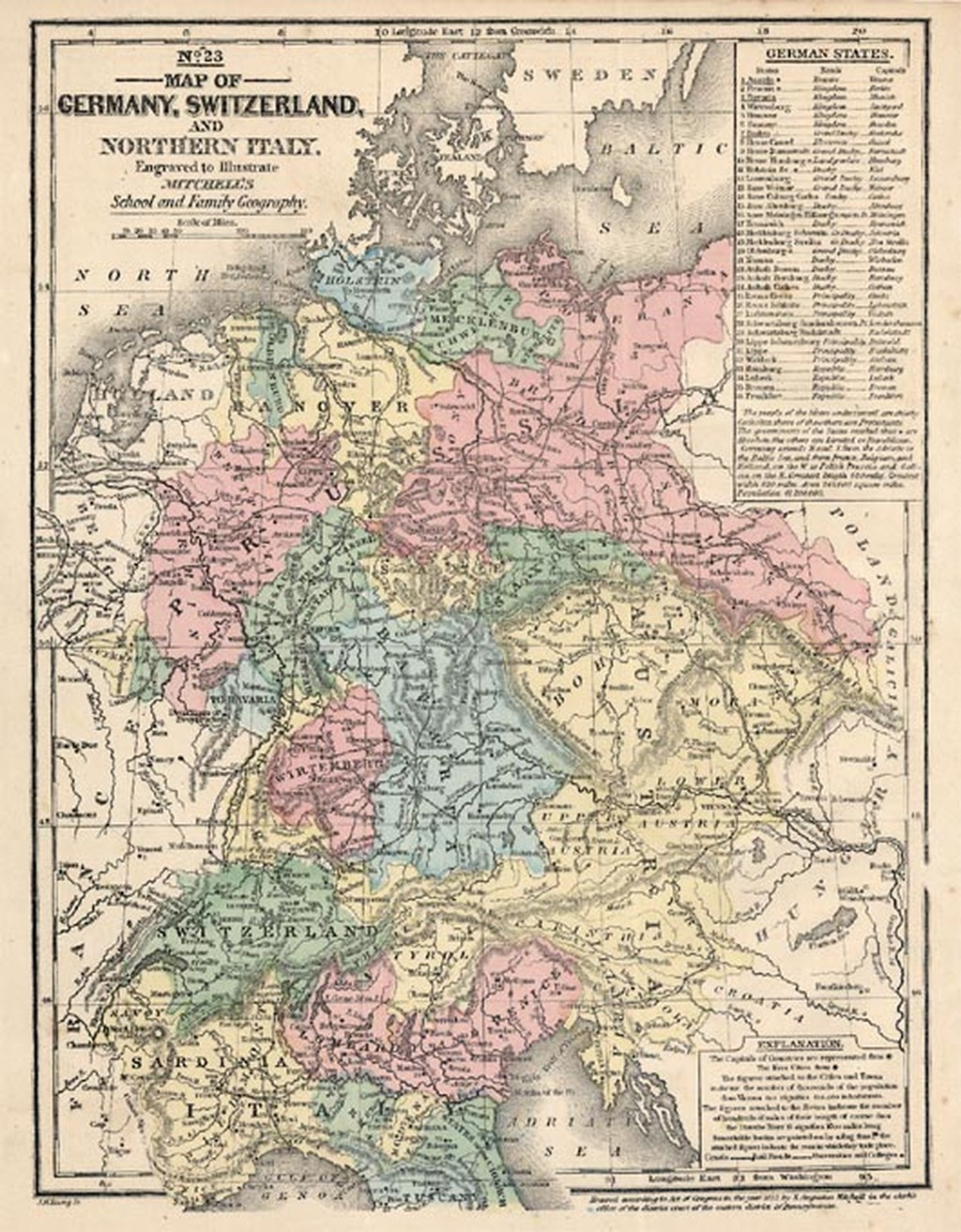 Map Of Germany And Switzerland.Map Of Germany Switzerland And Northern Italy Barry Lawrence