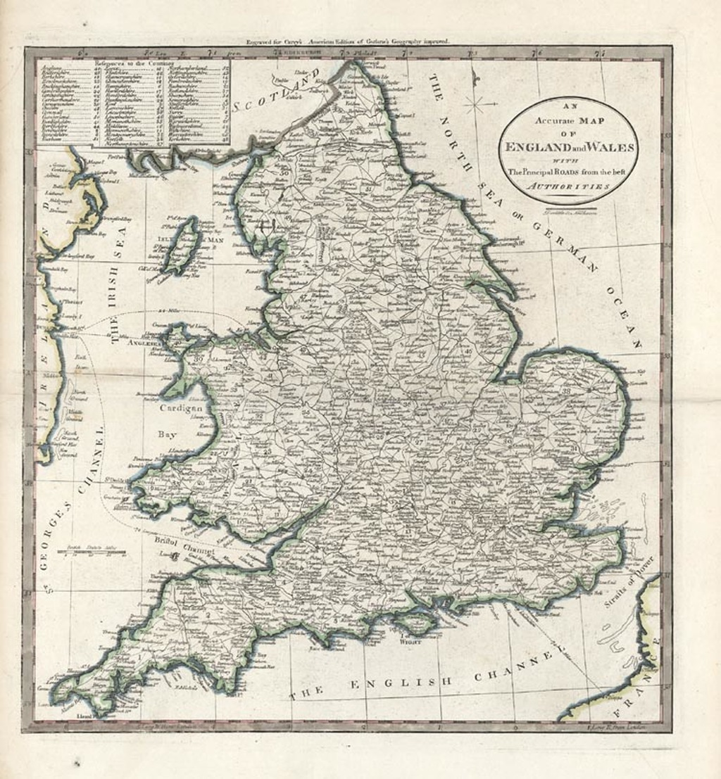 Map Of England Wales.An Accurate Map Of England And Wales With The Principal Roads From
