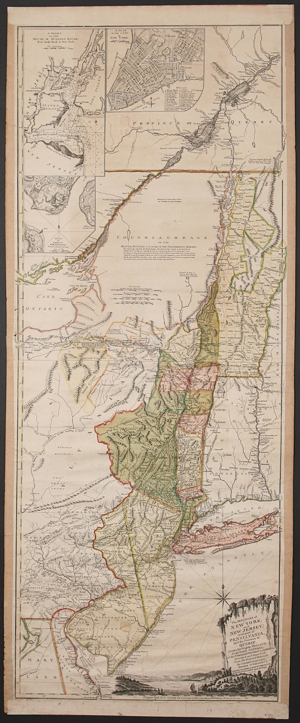 Map Of New York And Quebec.The Provinces Of New York And New Jersey With Part Of Pensilvania