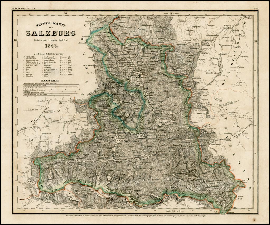 Neueste Karte Von Salzburg 1843 Barry Lawrence Ruderman