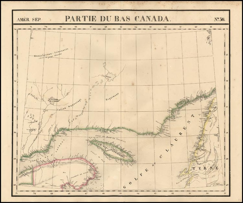 Amer. Sep. No. 36   Partie Du Bas Canada [Gulf of St. Lawrence, Isle de Anticosti, District De Gaspe] By Philippe Marie Vandermaelen