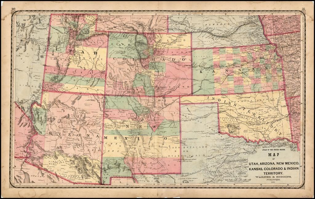 Map of Utah, Arizona, New Mexico, Kansas, Colorado and ...