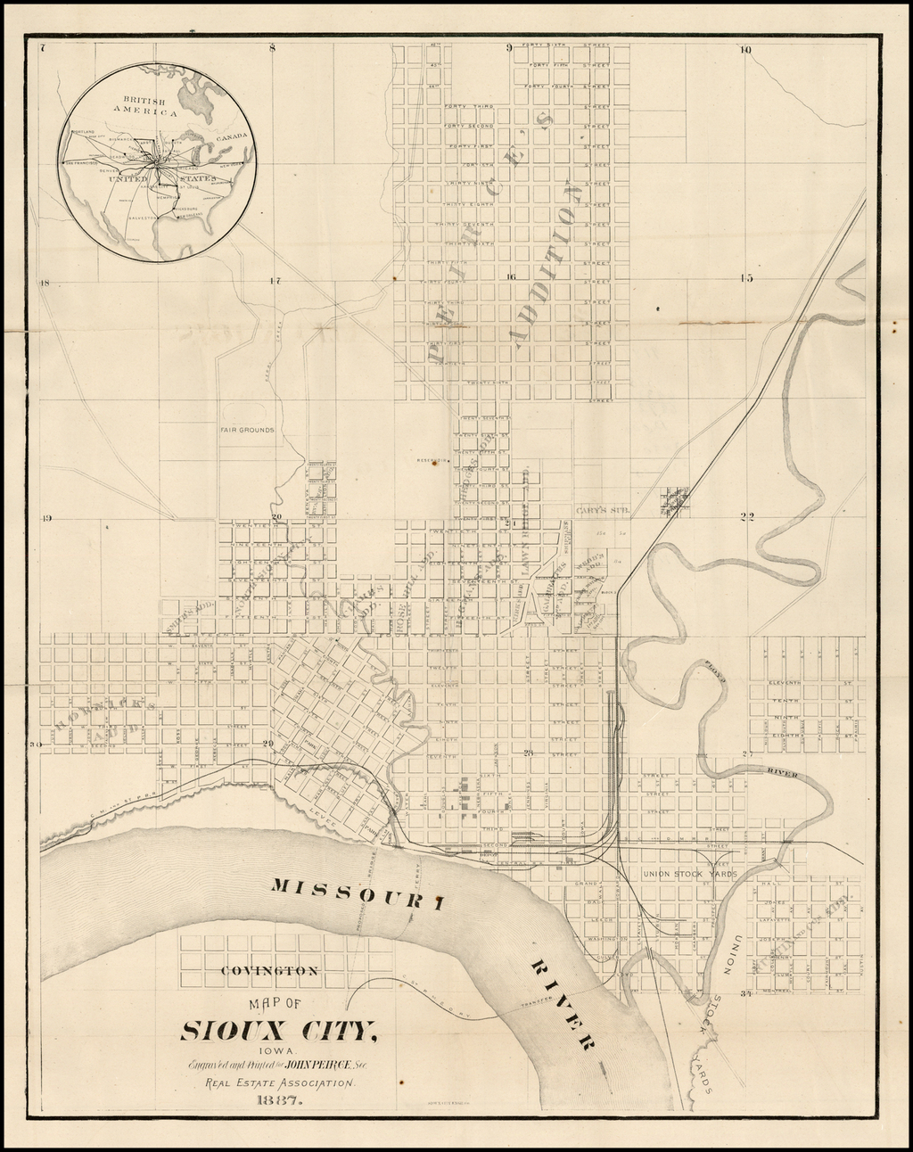 Map of Sioux City Iowa Engraved and Printed for John Peirce Sec. Real Estate Association 1887 By Sioux City Engraving Company