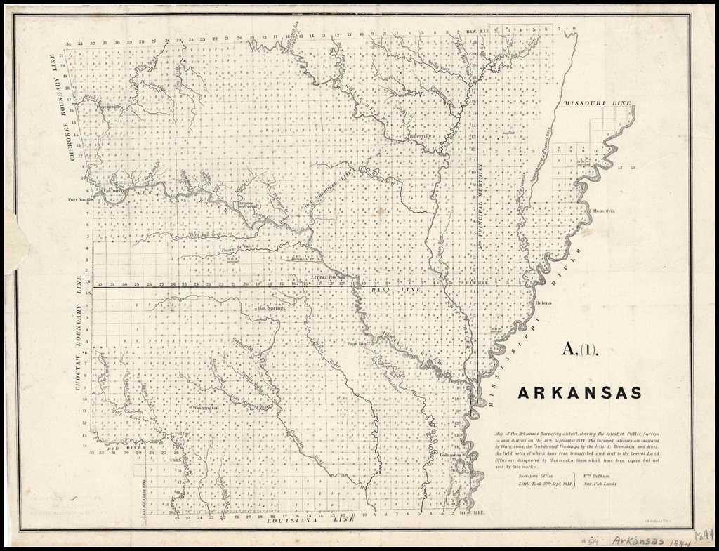 A.(1). ARKANSAS. Map Of The Arkansas Surveying District, Shewing The Extent Of Public Surveys In Said District On The 30th September 1844 . . .  By C.B. Graham