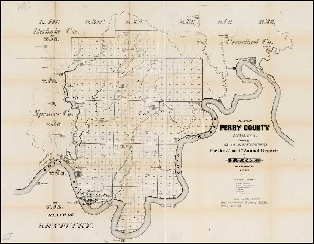 Map of Perry County Indiana Drawn by G.M. Levette for the 3rd and 4th Annual Reports of E.T Cox, State Geologist 1871-2 By Braden & Burford