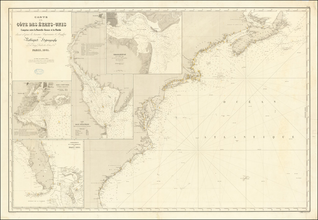 Carte De La Cote Des Etats-Unis Comprise entre la Nouvelle-Ecosse et la Floride . . . par Robiquet Hydrographie . . . 1861 By Aime Robiquet