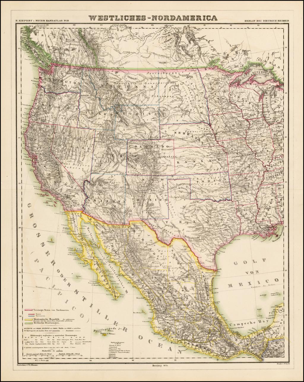 Westliches-Nordamerica By Dietrich Reimer  &  Heinrich Kiepert