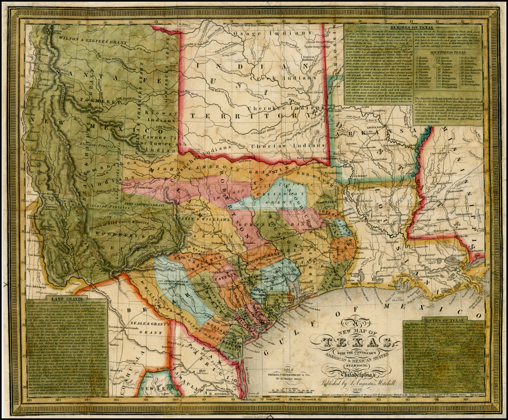 New Map Of Texas.A New Map Of Texas With The Contiguous American Mexican States