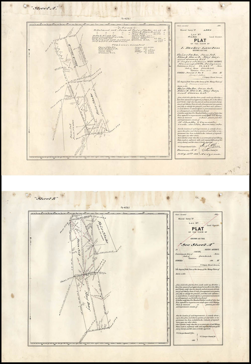 [Maricopa County, Arizona Territory]  Mineral Survey No. 1568 -- Gila Land District  -- Plat of the Claim of I. Parker Lawton  . . . In Superstition Mining District, Maricopa Counbty Arizona . . .  1902  [2 sheets] By U.S. Surveyor General