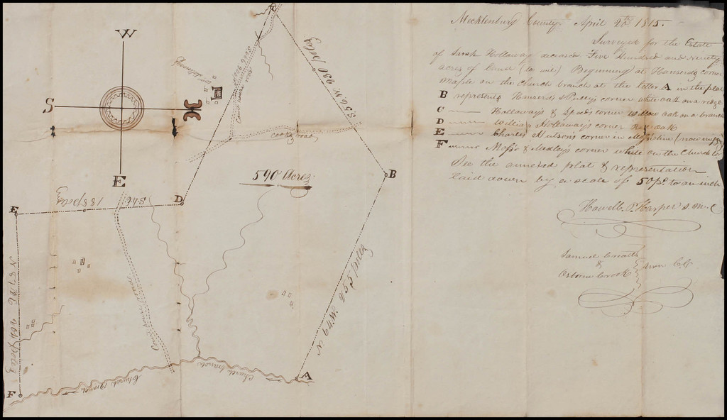 Mecklenburg County, Virginia  April 20th 1815 -- Survey for the Estate of Sarah Holloway [Manuscript Land Survey of 590 Acres] By Anonymous