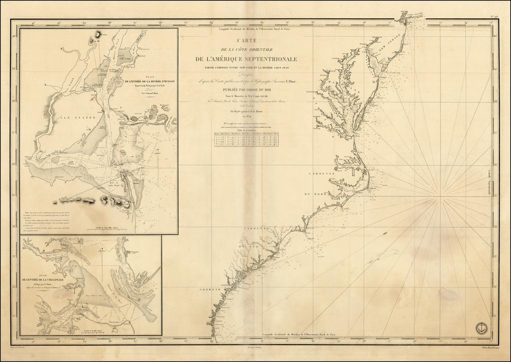 Carte de la Cote Orientale De L'Amerique  Septentrionale Partie Comprise Entre New York Et La Riviere Saint Jean ...1834 By Depot de la Marine