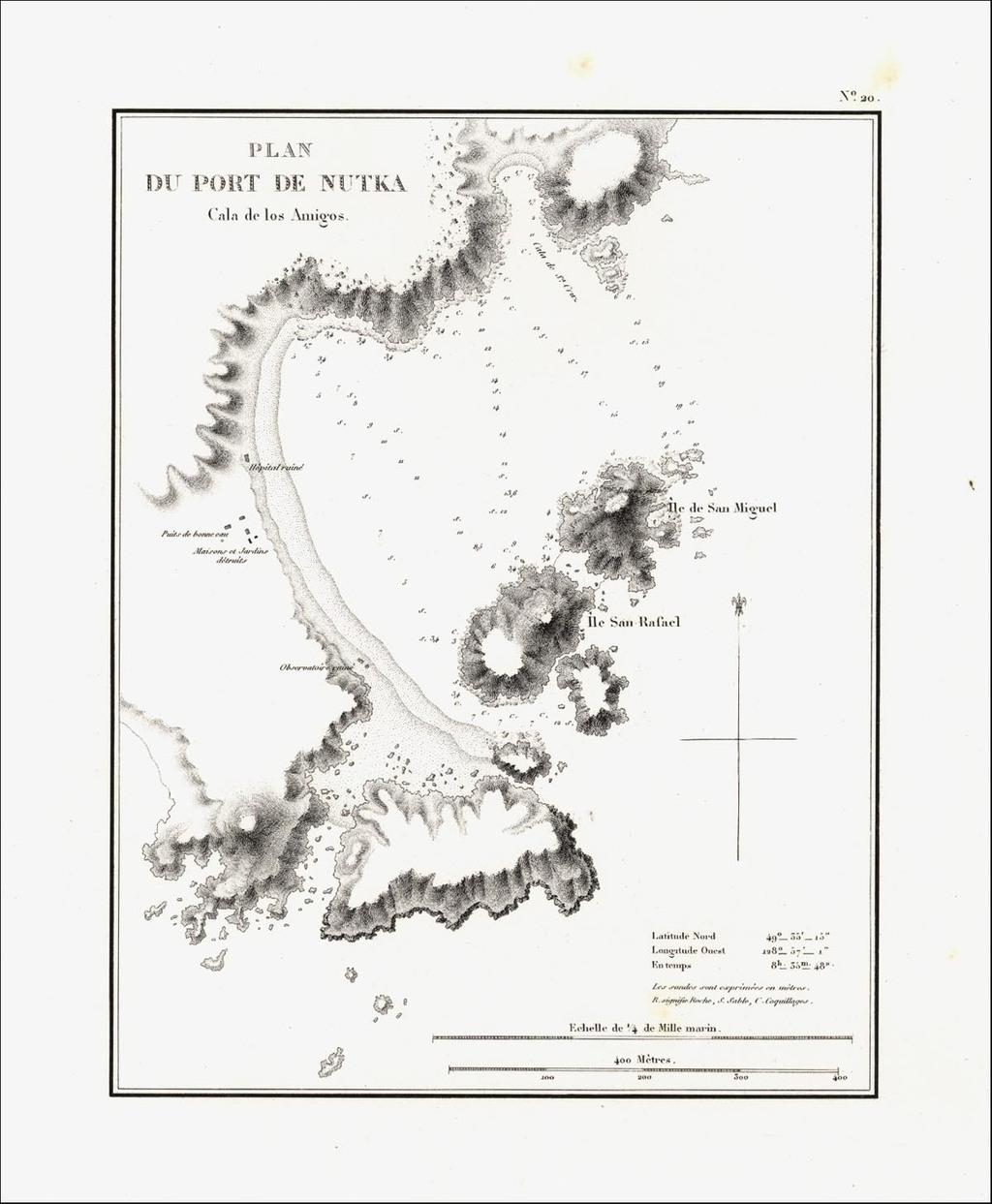 Plan Du Port De Nutka Cala de Los Amigos By Eugene Duflot De Mofras