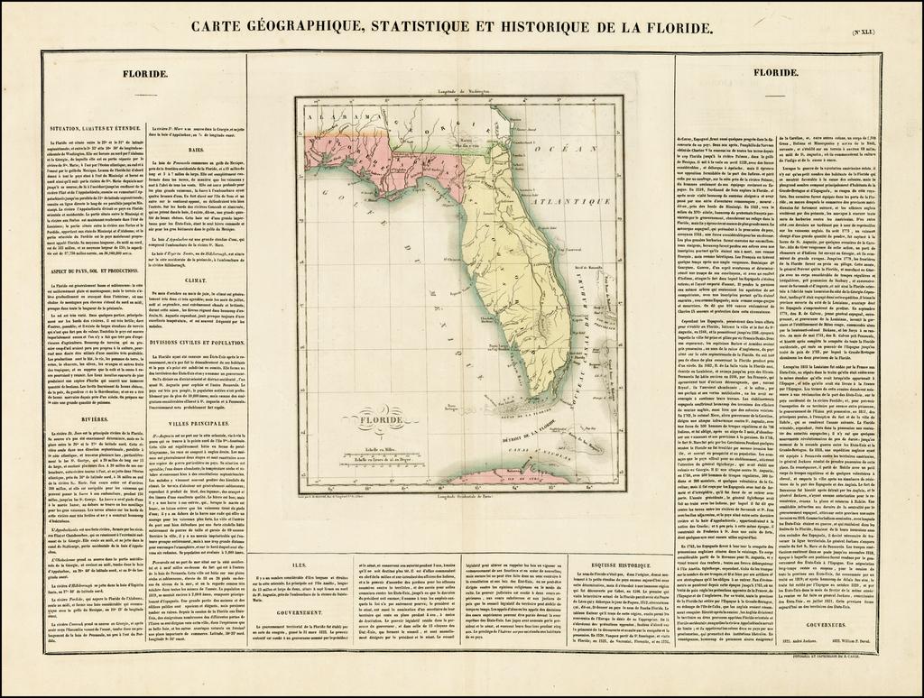 Carte Geographique, Statistique Et Historique De La Floride By Jean Alexandre Buchon