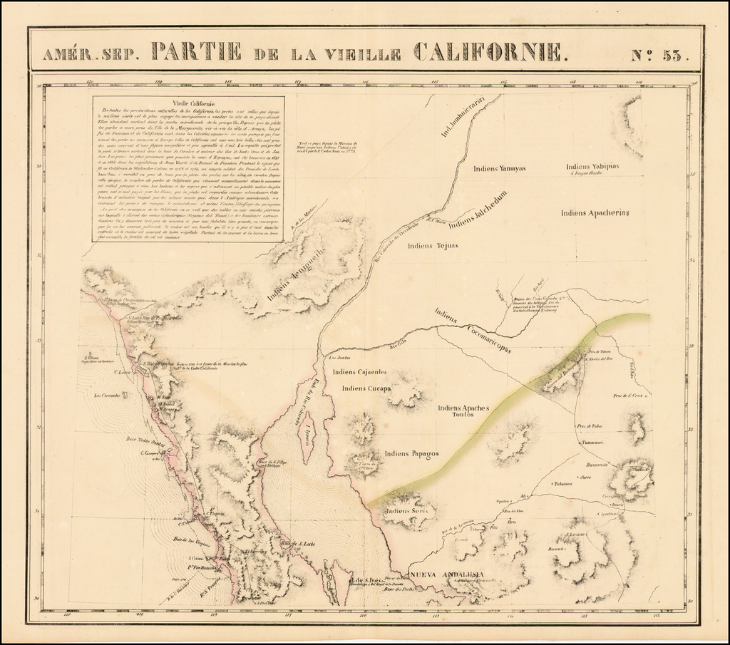 Amer. Sep. No. 53  Partie De La Vielle Californie [Southern California & Arizona] By Philippe Marie Vandermaelen
