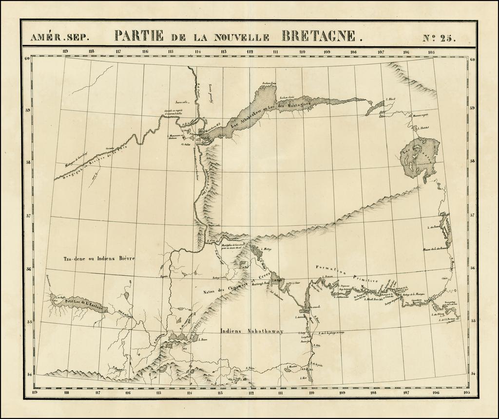 Amer. Sep. No. 25.  Partie De La Nouvelle Bretagne [Slave Lake, Lake Athabasca &c.] By Philippe Marie Vandermaelen