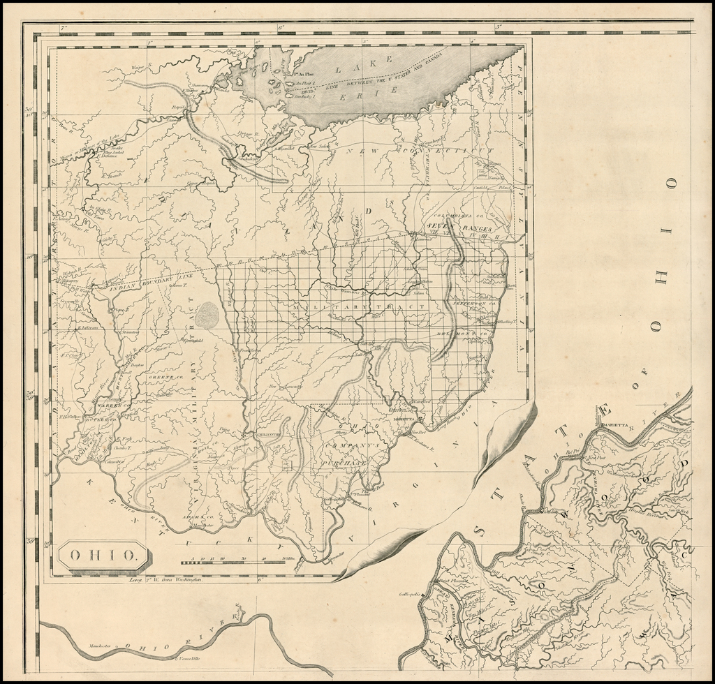 Ohio [First Printed Map of Ohio -- Northeast Sheet from ... on white map of ohio, full screen map of ohio, economy map of ohio, small map of ohio, large map of ohio,