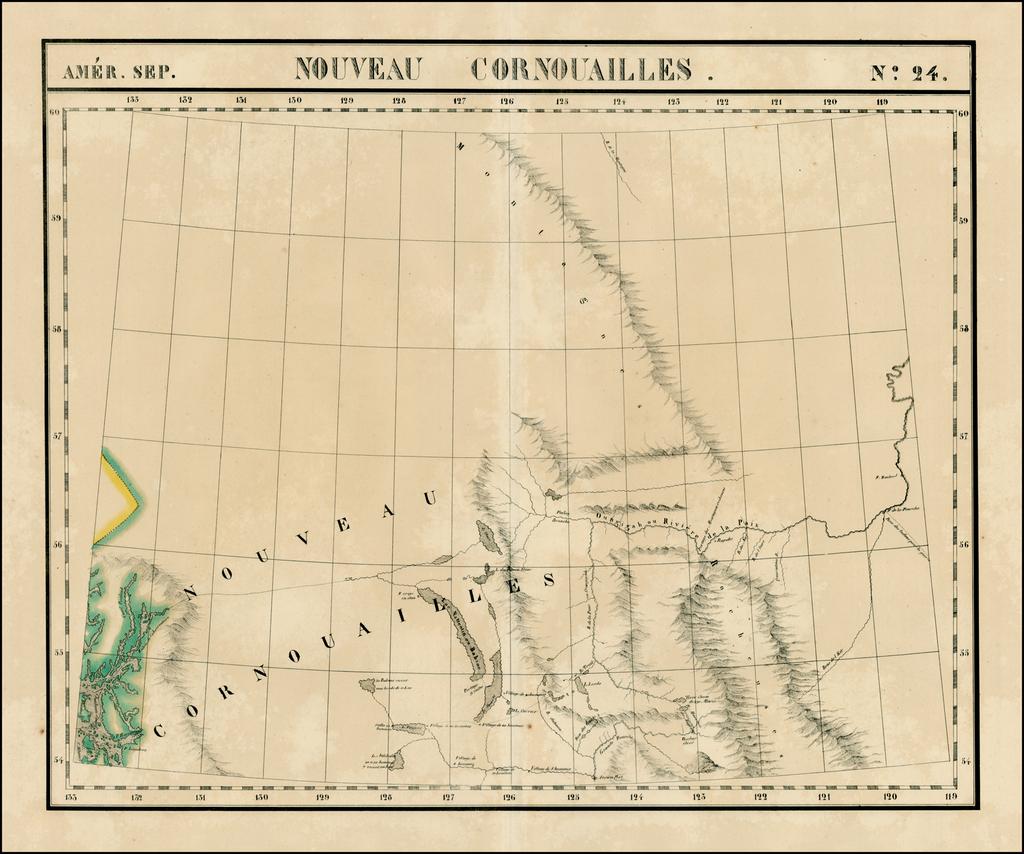 Amer. Sep. No. 24.  Nouveau Cornouailles [Prince Rupert, Babine Lake &c] By Philippe Marie Vandermaelen