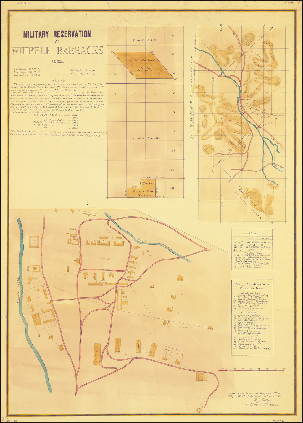 Military Reservation at Whipple Barracks Arizona [with 3 survey maps of the area around Granite Creek, Arizona Territory] . . .  1883 By Gustav J. Fiebeger