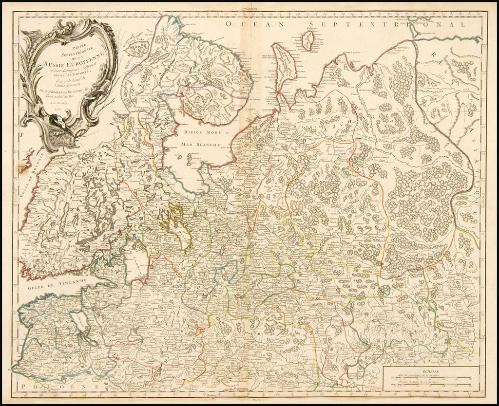 Partie Septentrionale De La Russie Europeenne ou sont distinguees exactement toutes les Provinces, d'apre le detail de l'Atlas Russien . . . 1753 By Gilles Robert de Vaugondy