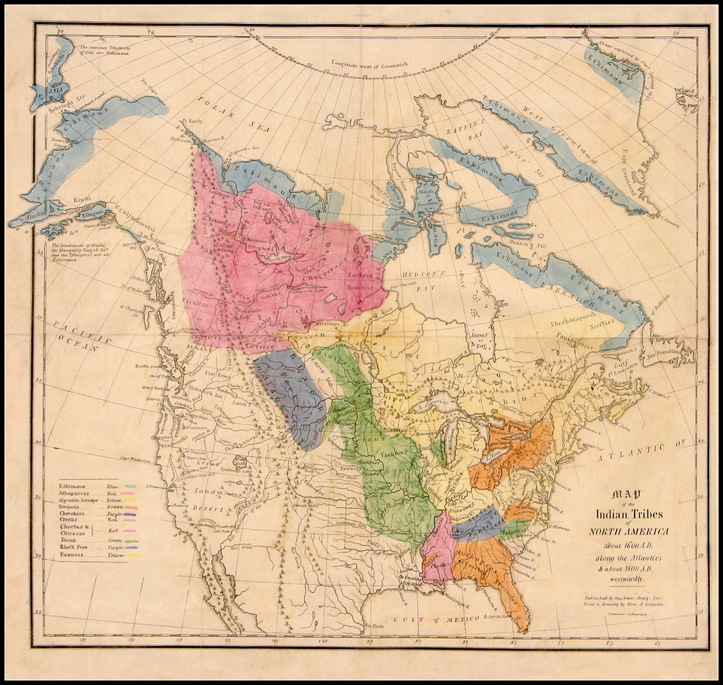 Map of the Indian Tribes of North America about 1600 A.D. ...
