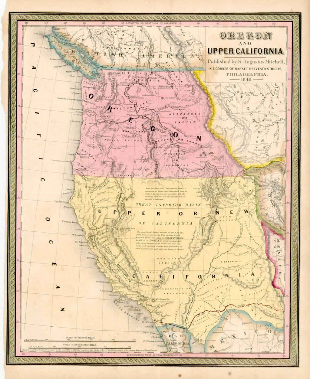 Oregon and Upper California . . .1848 By Samuel Augustus Mitchell