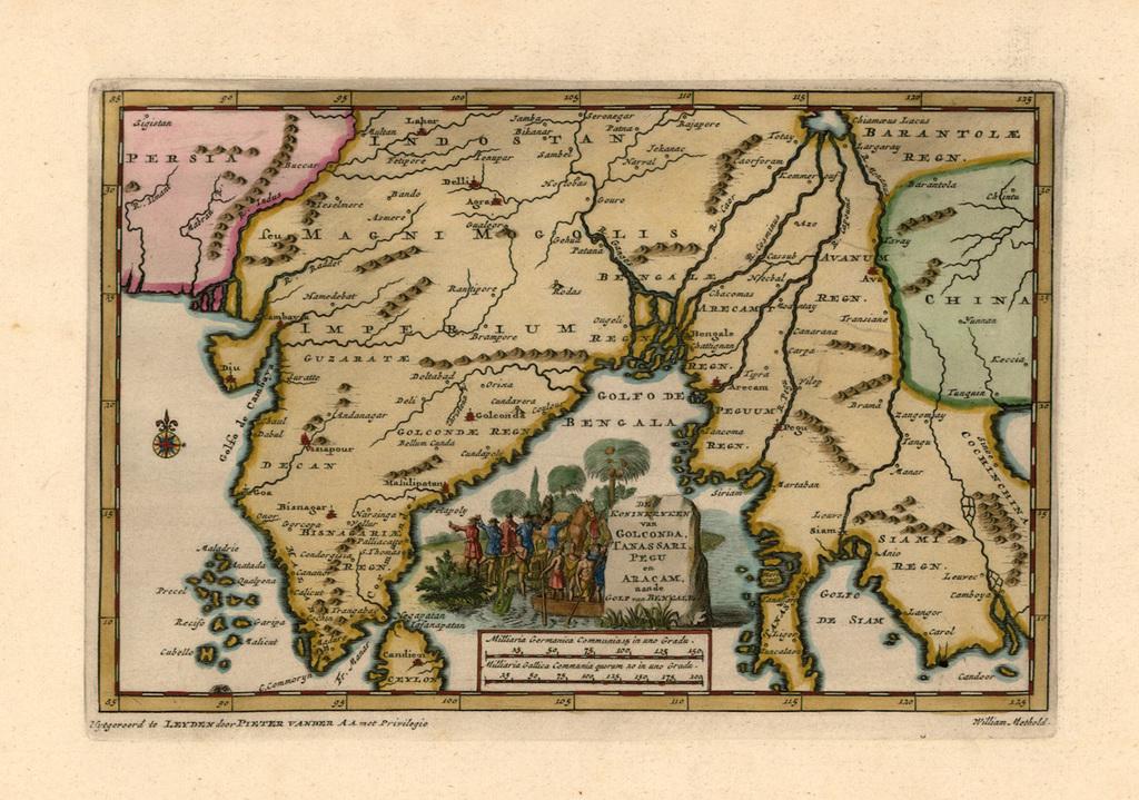 De Koninkryken van Golconda, Tanssari, Pegu en Aracam, aande Golf van Bengale By Pieter van der Aa