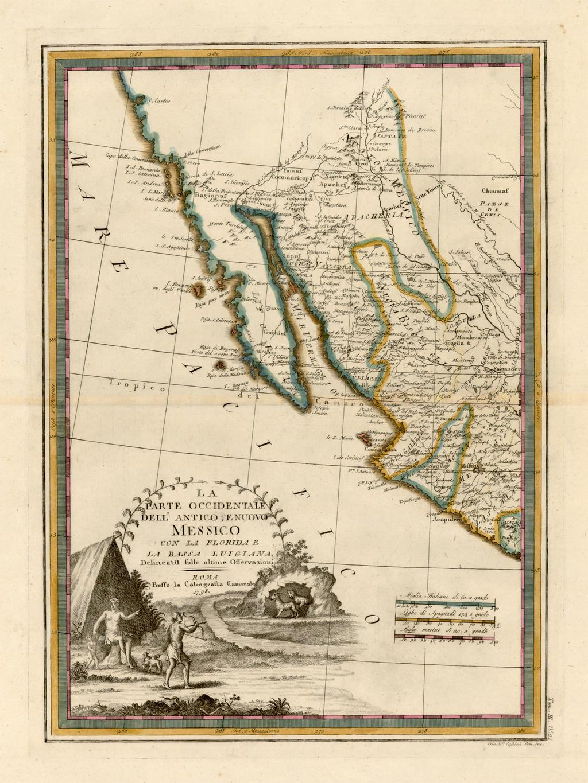 [California & The Southwest] La Parte Occidentale Dell'Antico, E Nuovo Messico Con Florida E La Bassa Luigiana…. 1798 By Giovanni Maria Cassini