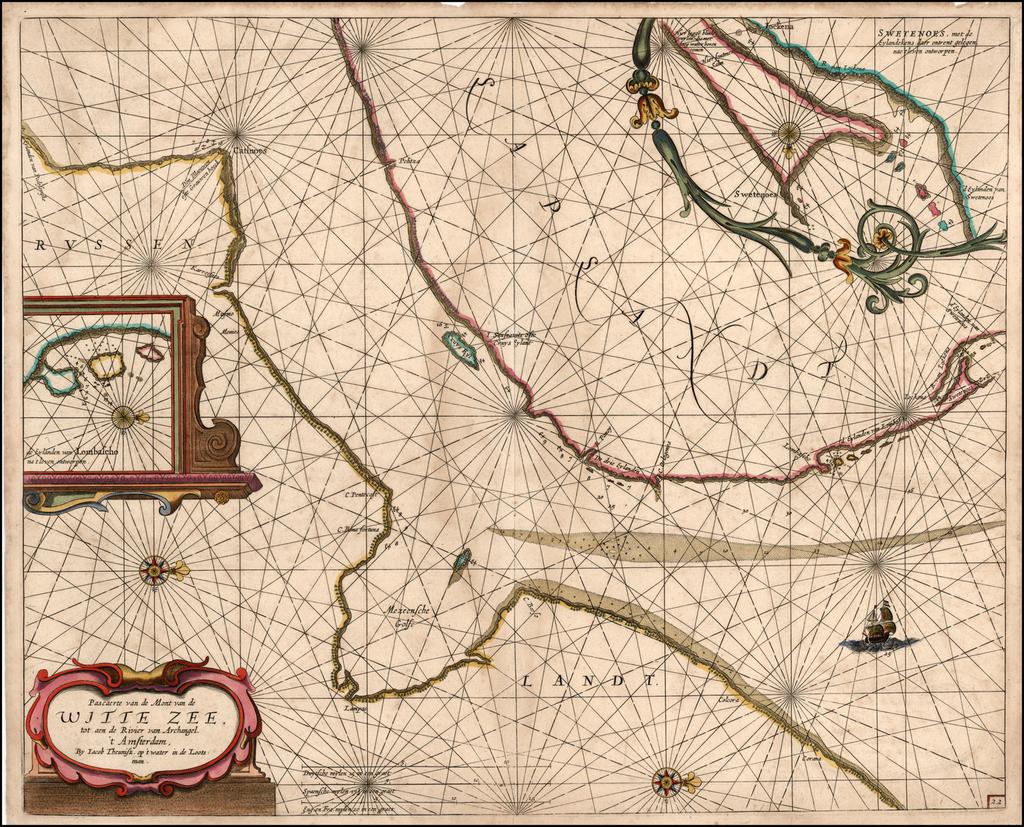 Pascaerte van de Mont van de Witte Zee tot aen de Rivier van Archangel . . .  By Anthonie (Theunis)   Jacobsz