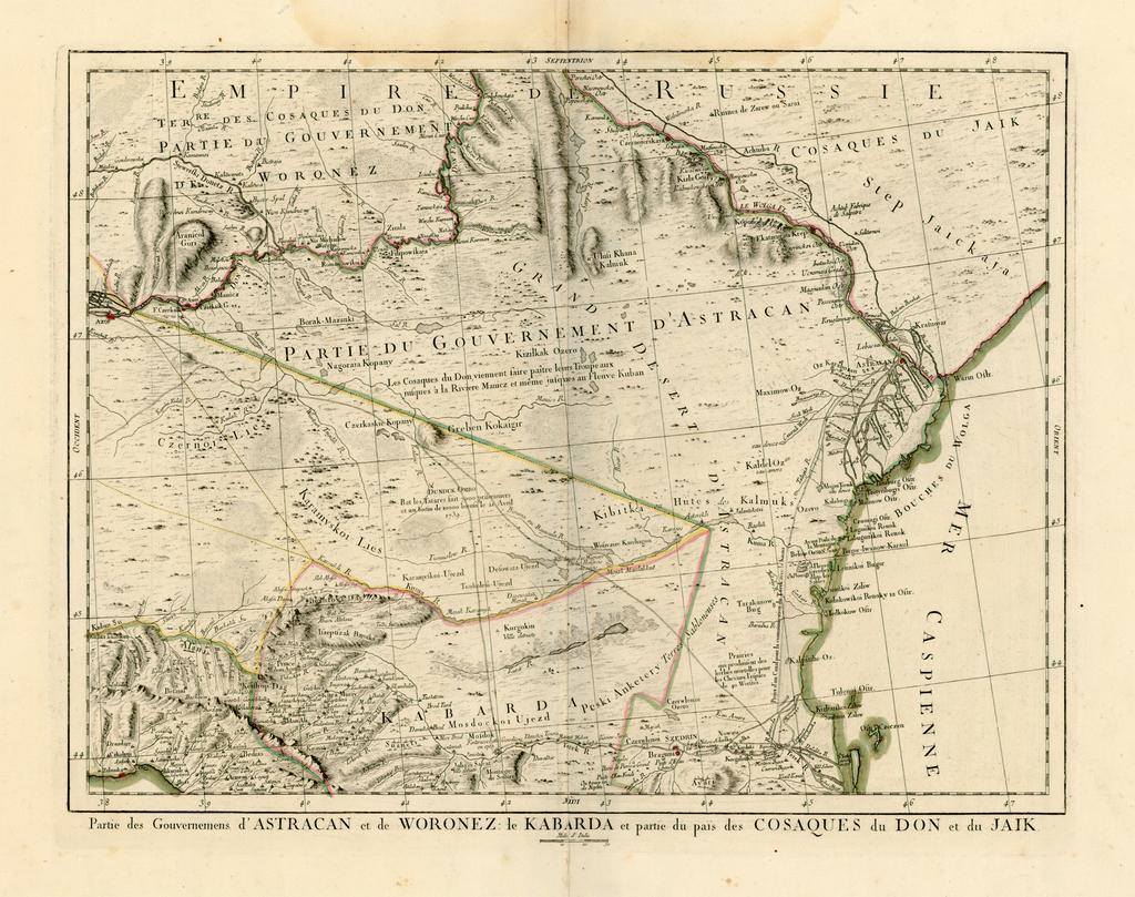Partie des Gouvernemens d'Astracan et de Woronez: le Kabarda et partie du païs des Cosaques du Don et du Jaik By Giovanni Antonio Remondini