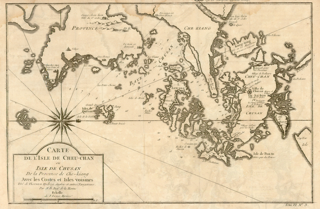 Carte de l' Isle de Cheu-Chan ou Isle de Chusan de la Province de Che-Kiang Avec les Costeset Isles voisines… By Jacques Nicolas Bellin