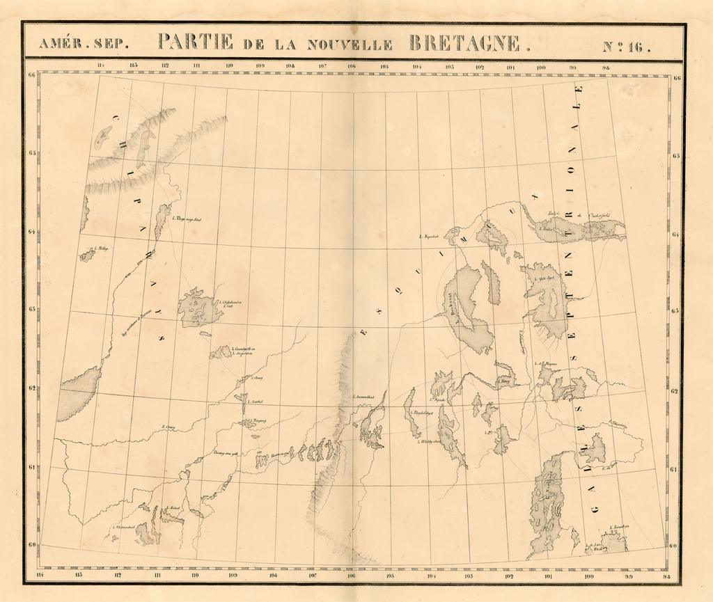 Amer. Sep. No. 16.  Partie De La Nouvelle Bretagne (Hudson Bay and parts west) By Philippe Marie Vandermaelen