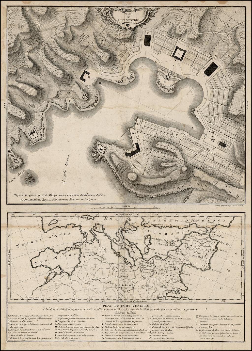 Plan Du Port-Vendres D'apres les dessins du Sr. de Wailly ancien Controleur des Batiments du Roi . . . . By Maurille Antoine Moithey