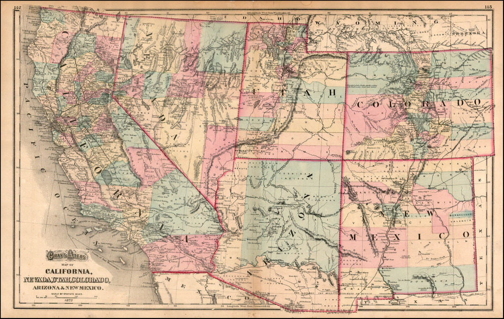 Map Of Arizona Utah And Colorado.Gray S Atlas Map Of California Nevada Utah Colorado Arizona