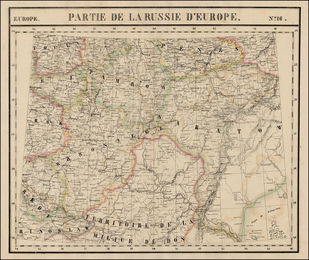 Europe No. 16.  Partie De La Russie D'Europe [Tambow, Woroniege, Saratow and Territoire De La Milice De Don, etc.] By Philippe Marie Vandermaelen