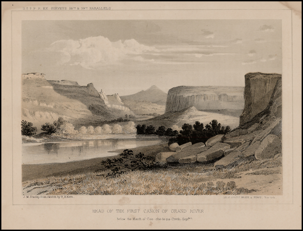 Head of the First Canon of Grand River below the Mouth of Coo-che-to-pa Creek.  Sept. 7. By U.S. Pacific RR Survey