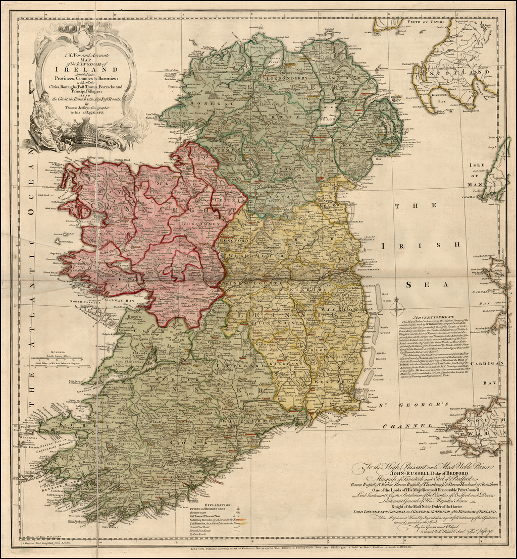 Map Of Ireland With Towns.A New And Accurate Map Of The Kingdom Of Ireland Divided Into